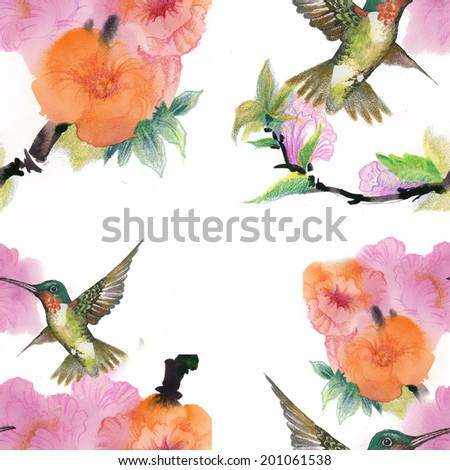 Floral colorful mallow flowers with colibri pattern vector - stock vector