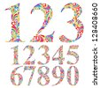 Floral colorful numbers set, vector typeface. - stock photo