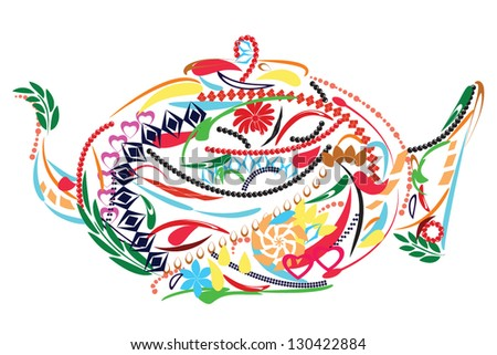 Floral colorful teapot - stock vector