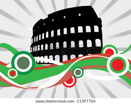 Floral Colosseum - stock vector