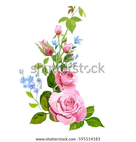 Floral composition bouquet pink rose blue stock vector 595514183 floral composition bouquet pink rose blue flowers forget me not buds ccuart Image collections