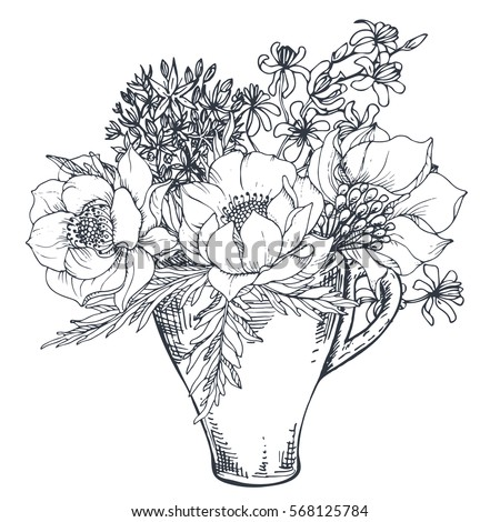Collection Hand Drawn Flowers Plants Monochrome Stock