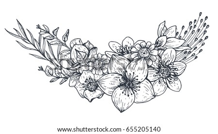 Floral composition bouquet hand drawn flowers stock vector royalty bouquet with hand drawn flowers and plants monochrome vector illustration in sketch mightylinksfo