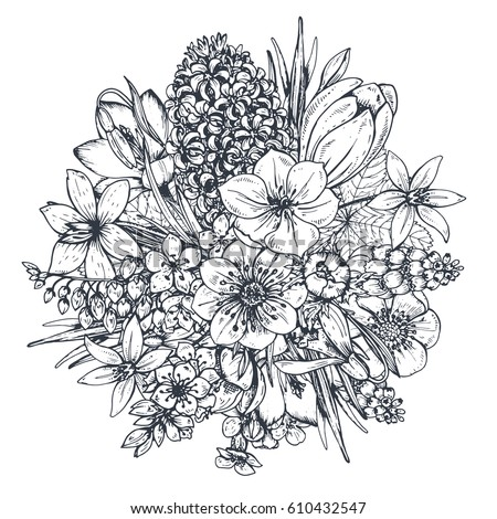 Bouquet With Hand Drawn Spring Flowers And Plants Monochrome Vector Illustration In
