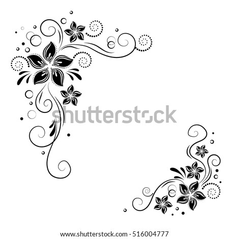 Black White Floral Corner Border Pictures to Pin on ...