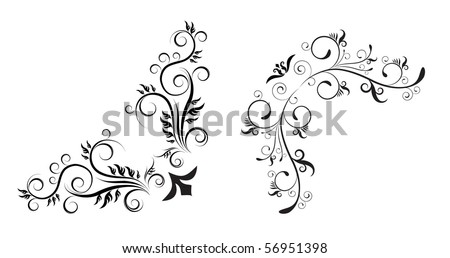 floral corners - design elements - stock vector