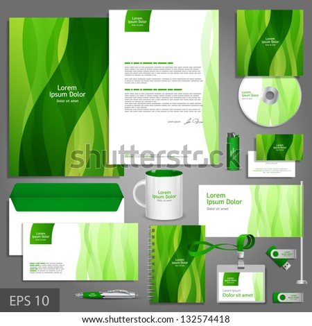 Floral corporate identity template with leaves. Vector company style for brandbook and guideline. EPS 10 - stock vector