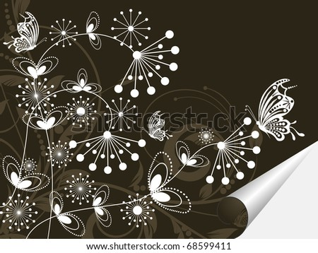 floral creative decorative abstract background with butterfly - stock vector