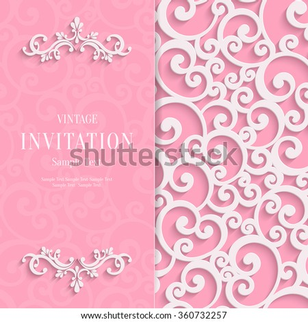 Floral Curl Pink Background with 3d Swirl Damask Pattern for Wedding or Valentines Invitation Card. Vector White Vintage Design