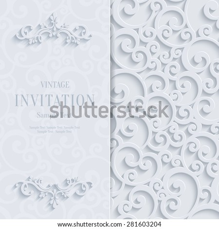 Floral Curl White Background with 3d Swirl Damask Pattern for Wedding or Invitation Card. Vector White Vintage Design - stock vector