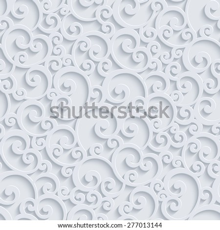 Floral 3d Seamless Pattern Background. Vector Curl Decoration For Wallpaper or Invitation Card. Swirl Design - stock vector