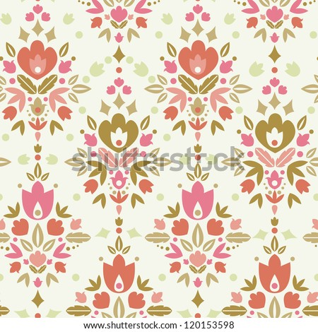 Floral damask seamless pattern background - stock vector