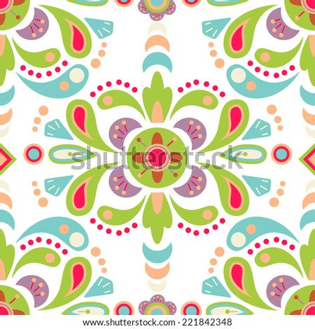Floral damask seamless pattern background, mexican colorful ornament - stock vector
