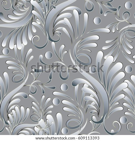 Floral damask seamless pattern vector light stock vector 609113393 floral damask seamless pattern vector light background wallpaper illustration with hand drawn 3d vintage silver mightylinksfo