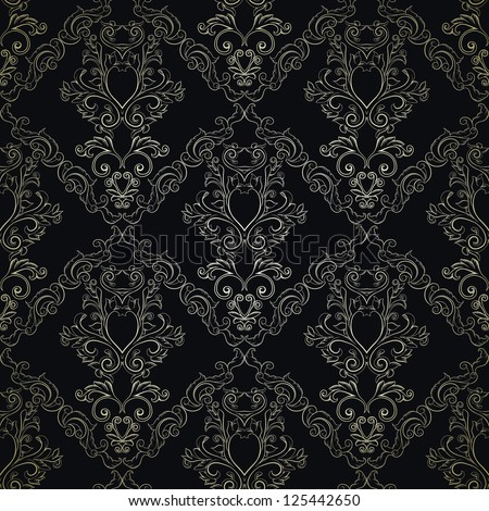 Floral Damask wallpaper, detailed. Luxury - stock vector