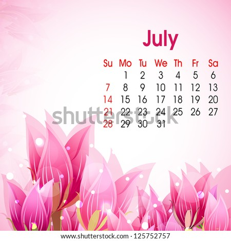 Floral decorated, July month calender 2013. EPS 10.