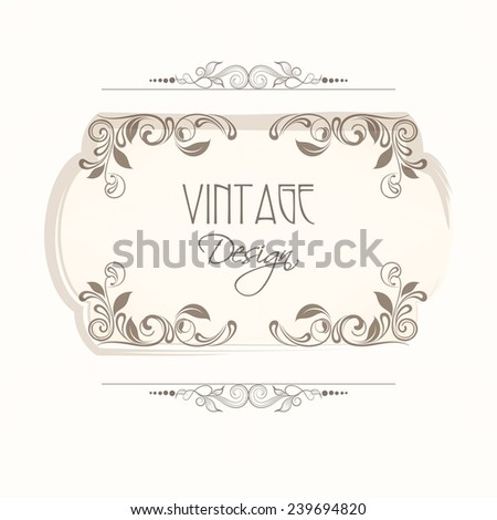 Floral decorated vintage frame with space for your text on white background.