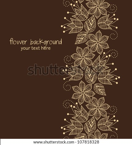 Floral decoration on a brown background - stock vector