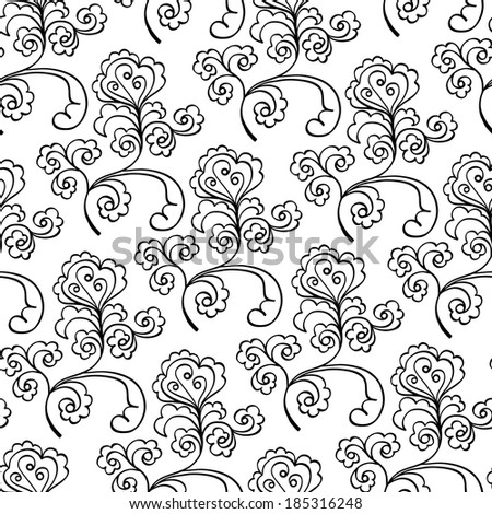 floral decorative black and white seamless pattern