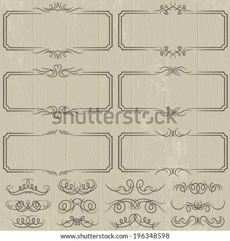 floral decorative borders, ornamental rules, dividers, vector - stock vector