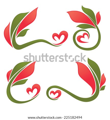 floral decorative frames and bright hearts - stock vector
