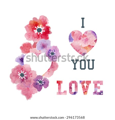 Floral Decorative Graphic with Pink Watercolor Flowers. Vector Design Elements for Fashion, T-Shirt, Cards and Other Uses. Love, Quote, Heart Illustration.