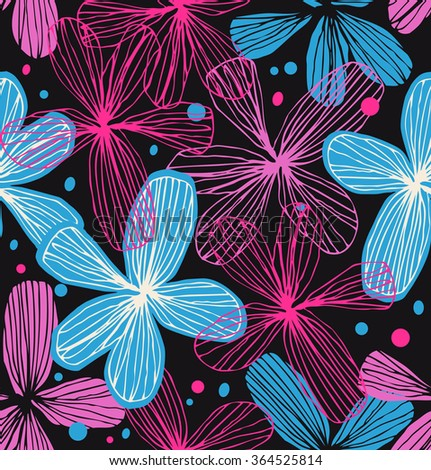 Floral decorative seamless pattern. Adorable vector background. Template for textile, wallpapers, curtains, wrapping papers - stock vector