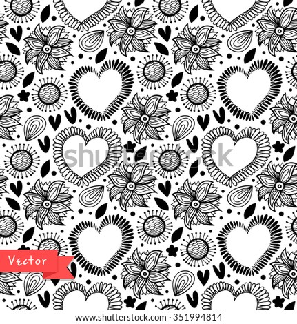 Floral decorative seamless pattern. Black and white vector background with hearts and flowers. Fabric vintage texture - stock vector