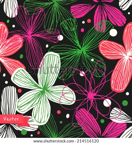 Floral decorative seamless pattern. Colorful beautiful background with elegant flowers. Template for textile, wallpapers, curtains, wrapping papers - stock vector