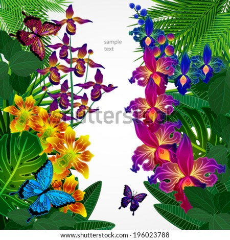 Floral design background. Tropical orchid flowers, leaves and butterflies.  - stock vector