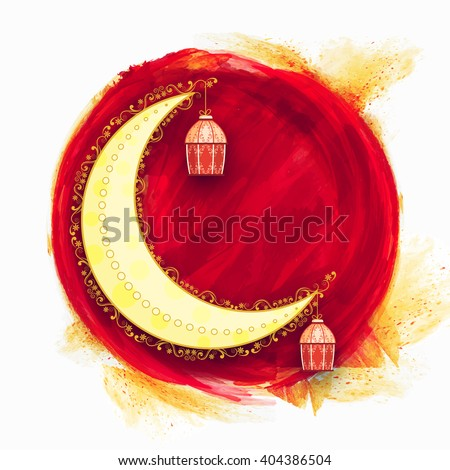 Floral design decorated crescent moon with hanging lamps on creative background for Islamic Festival celebration. - stock vector