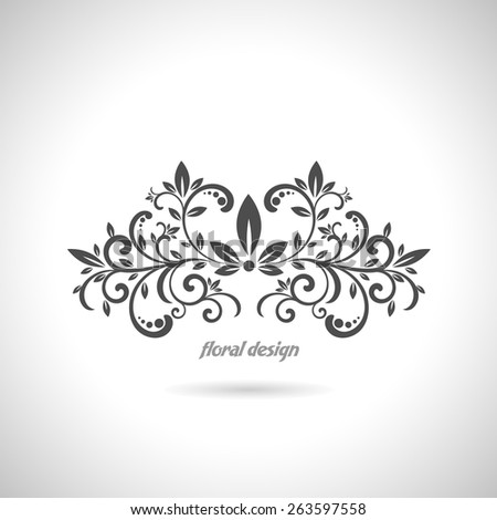 Floral design element on white background - stock vector