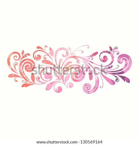 Floral design element. Watercolor pattern. - stock vector