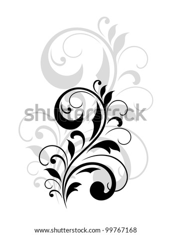 Floral design element with reflection. Jpeg version also available in gallery