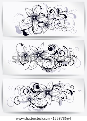 floral design element with swirls for spring - stock vector