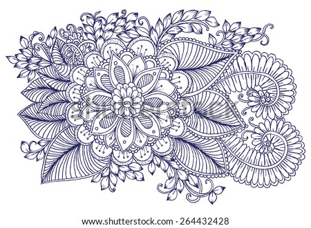 Floral design elements. Doodle flowers. Zentangle pattern - stock vector