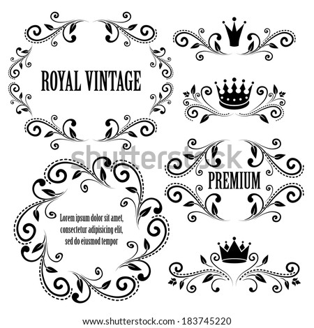 Floral design elements, ornamental vintage  frames with crowns in black color. Page decoration. Vector illustration. Isolated on white background. Can use for birthday card, wedding invitations.