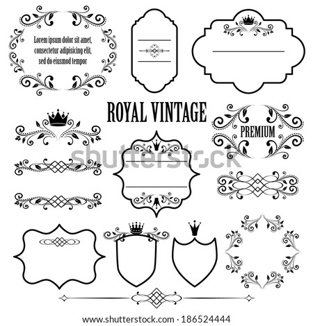 Floral design elements, ornamental vintage frames with crowns in black color. Page decoration. Vector illustration. Isolated on white background. Can use for birthday card, wedding invitations.  - stock vector