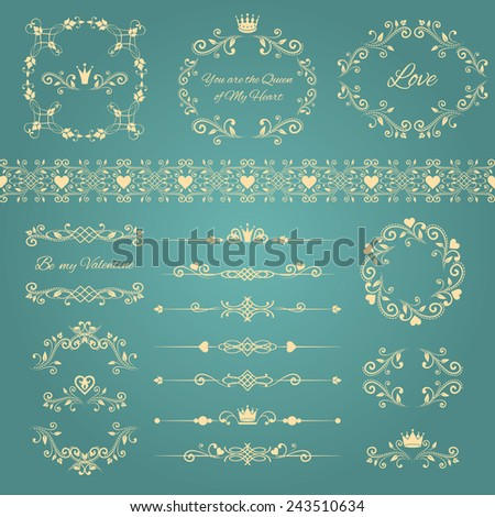 Floral design elements set, ornamental vintage frames with crowns and hearts. Page decoration isolated on blue. Vector illustration. Can use for birthday and valentines card, wedding invitations...  - stock vector