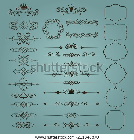 Floral design elements set, ornamental vintage frames with crowns in brown color. Page decoration. Vector illustration. Isolated on blue background. Can use for birthday card, wedding invitations.  - stock vector