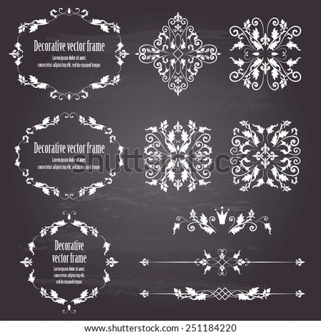 Floral design elements set , ornamental vintage objects, frames and dividers in white color. Vector illustration. Isolated on chalkboard background. Can use for birthday card, wedding invitations - stock vector