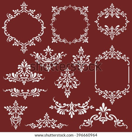 Floral design elements set, Page decoration. Vector illustration. Isolated on beige background. Can use for birthday card, wedding invitations.