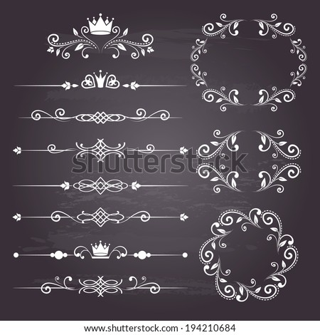 Floral design elements vintage dividers and frames with crowns in white color. Page decoration. Vector illustration. Isolated on chalkboard background. Can use for birthday card, wedding invitations.  - stock vector