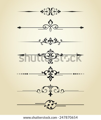 Floral design elements vintage dividers in black color. Page decoration. Vector illustration. Isolated on white background. Can use for birthday card, wedding invitations - stock vector