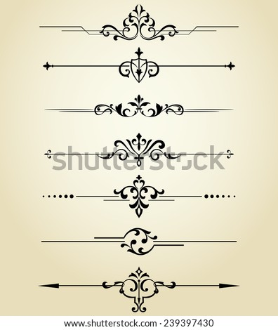 Floral design elements vintage dividers in black color.  Vector illustration. Can use for birthday card, wedding invitations. Design element. - stock vector