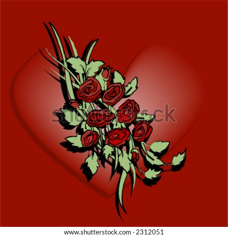 Floral Design: Roses - Vector - stock vector