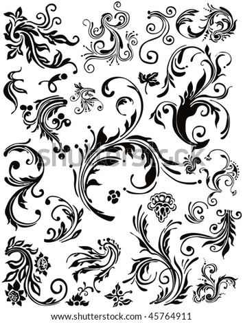 Floral design silhouette collection. Vector decoration