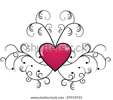 Floral design with heart - stock vector