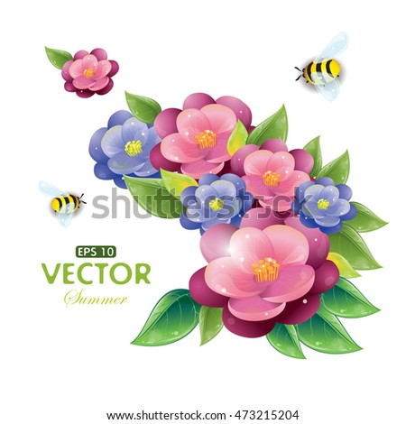 Floral design with violet and flying bees isolated on white, vector illustration, eps-10