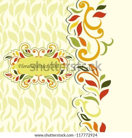 Floral designed, abstract elegant style Invitation Card, spring- colored - stock vector